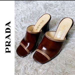 Prada High Heel Leather Mules